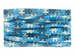 Multifunktionstuch Puzzle türkis+grau