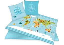 Weltkarte-Bettwäsche
